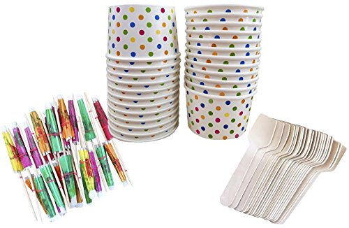 Outside the Box Papers Mini Ice Cream Sundae Kit with 4 Ounce Polka Dot Paper Cups, Mini Wooden Taster Spoons and Paper Umbrellas 24 Pack Pink, Blue, Yellow, Orange (Party Ice Cream Cups compare prices)