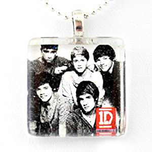One Direction Band -- Harry Zayn Liam Niall And Louis Glass Tile Pendant Necklace Jewelry Wearable Art Unique Design By Atlantic Seaboard Trading Co by Atlantic Seaboard Trading Co.