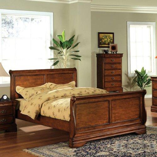 Queen Size Venice Dark Oak Finish Bed Frame front-972576