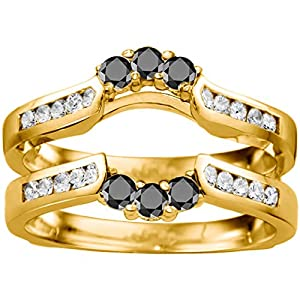 Yellow Plated Sterling Silver Royalty Inspired Half Halo Ring Guard Enhancer set with Black And White Cubic Zirconia (0.54 Ct. Twt.)