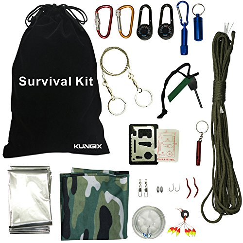 KUNGIX Outdoor Survival Kit Emergency Survive Tool Pack for Hiking Trekking Hunting Camping Traveling Fishing and Disaster Preparedness