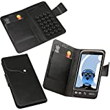 iTALKonline HTC Desire Black Super Slim PU Leather Executive Multi-Function Wallet Case Cover Organiser Flip with Credit / Business Card Holder - Suction Pad Design