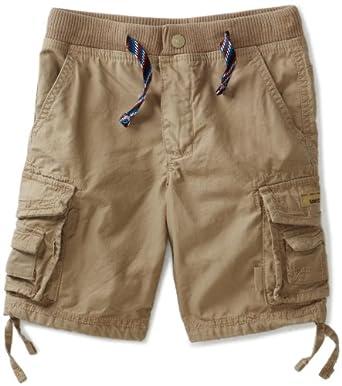 Unionbay Little Boys' Clint Knit Waist Cargo Short, Desert, 7X