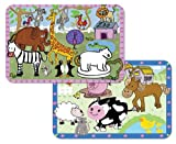 Kid's Farm and Zoo Animals Reversible Washable Vinyl Placemats Set of Two