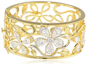 CZ by Kenneth Jay Lane 10 cttw Openwork Floral Vine Bangle Bracelet, 2.7