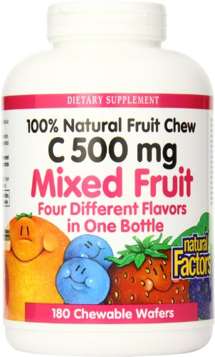 Natural Factors Vitamin C 500 Mg Mixed Fruit 180-Chewables Wafers