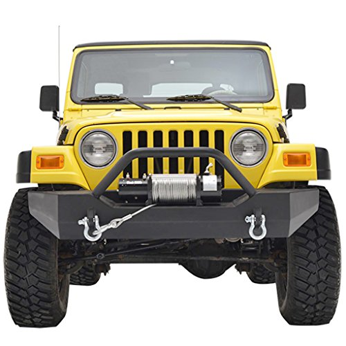 E-Autogrilles YJ TJ Jeep Wrangler Black Textured Front Jeep Bumper with D-Rings