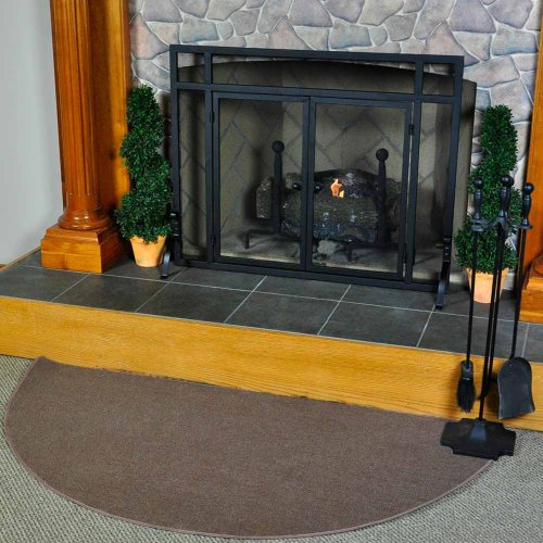 5' Half Round Brown Guardian Fireplace Rug (Fire Mat For Fireplace compare prices)