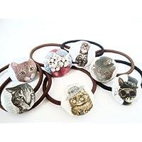 かわいいネコのヘアゴム コンチョ バックチャーム ブレスレット 3点アソート