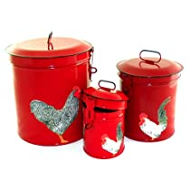 Vintage Country Canister Set Kitchen Storage Canisters Decorative Containers E3 French Country Red Enamel with Decoupage Roosters
