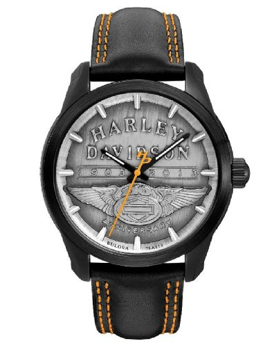 Harley-Davidson® 110th Anniversary Special Edition Bulova Watch. 110th Logo. Pewter Dail Luminous Hands. Leather Strap. 78A113