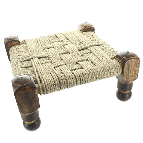Woven Top Stool With Wooden Frame And Legs - Square