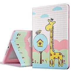 iPad Air 2 Case, iPad Air 2 Case Giraffe, ESR PU Leather Folio Case Stand with Fashion Cute Cartoon Pattern and Smart Cover [Auto Wake Up/Sleep] for Apple iPad Air 2 / iPad 6 (2014 Edition)_Big Pal