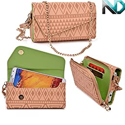 Womens Wristlet Clutch Blu Studio 5.3 D500 with Credit Card Holder & Removable Crossbody Chain| Tribal Aztec Mayan Pattern| Nude Tan Brown Lime Crime + ND Cable Tie