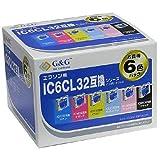 G&G EPSON IC6CL32互換 6個パック(ブラック・イエロー・マゼンタ・シアン・ライトマゼンタ・ライトシアン) NIE-IC32-6PACK