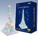 エッフェル塔が綺麗に光る クリスタル風パズル お部屋のインテリアとしても楽しめる 模型型3D立体パズル LED照明付き Crystal Puzzle Castle