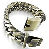 Mens Large Heavy Stainless Steel Bracelet Link Wrist Gold Punk Rock Biker ( Weight : 119 g )