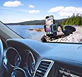 "Onyx EasyGrip Phone Car Mount - Universal Windshield Holder/Cradle (Black) - (Comes with a FREE 360-Degree Rotating Car Mount Dashboard Disk) - Designed to Fit Apple iPhone 5S/5C/5/4S/4 Samsung Galaxy S5/S4/S3/S2 Nokia Lumia HTC or any Device upto 3.5"" - Beautiful Leather and Jewels Design - 100% Satisfaction Guaranteed or Money Back!"