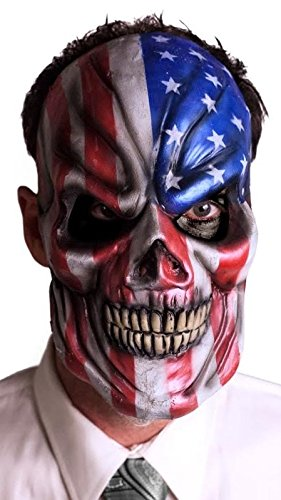 Freckle 'Merica Star Spangled Skull Latex Halloween Mask - Red, White and Blue (Red Halloween Mask)