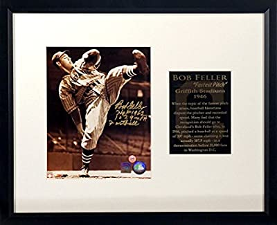 """Cleveland Indians Bob Feller Autographed 8x10 """"Fastest Pitch"""" Display w/ Dual Inscriptions Framed (COA)"""