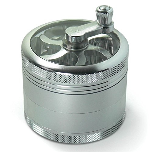 Oliasports® 4-Piece Silver Herb Grinder for Herb-Spices-Tobacco | Large (2.5 inch - 63mm) Precision Aluminum Grinder with Pollen Catcher (Herb Grinder With Crank compare prices)