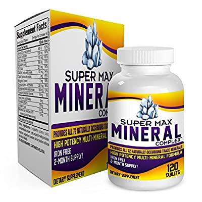 2-Month Multi Mineral Supplement (Iron Free) with 72 Trace Minerals - SUPER MAX MINERAL COMPLEX (120 Tablets)