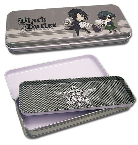 Black Butler Sebastian & Ciel Tin Pencil Case pair of stylish zircon cut out apple stud earrings for women
