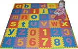 "We Sell Mats Lowercase 36 Sq. Ft. Alphabet and Number Floor Puzzle-Each Tile 12""x12""x .375"" Thick with Borders"