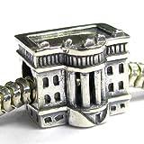 Sterling Silver America Usa White House Bead for Pandora Troll European Charm Bracelets
