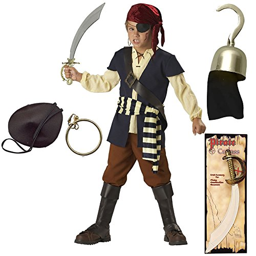 Pirate Mate Child Costume with Patch, Hook, Earring and Pirate Cutlass, Size 4