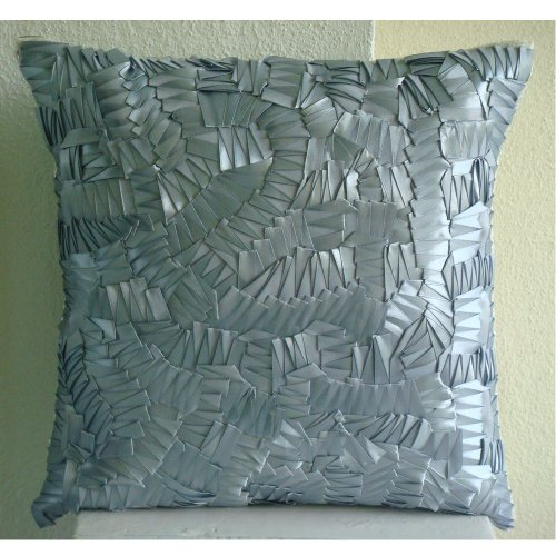 Silver Mist - 26X26 Inches Square Decorative Throw Silver Silk Euro Sham Covers Embroidered With Satin Ribbons front-656486