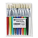 Creative Arts by Charles Leonard Stubby Flat Paint Brushes, 10/Set, Assorted Colors (73290)
