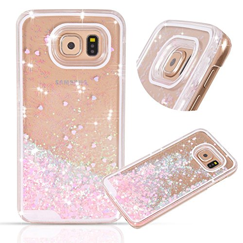 Samsung Galaxy S7 Edge case,Crosstree Liquid, Appmax Cool Quicksand Moving Stars Bling Glitter Floating Dynamic Flowing Case Liquid Cover for galaxy s7 edge. (Heart Pink) (Galaxy S5 Cool Wallet Case compare prices)