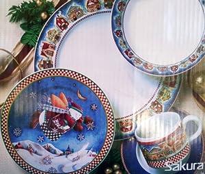 Debbie Mumm Sakura Snow Angel Village Dinnerware Set - 20 Pieces