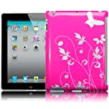 Apple iPad 3 Flower And Butterfly Back Cover Case / Shell / Shield - Pink Part Of The Qubits Accessories Rangeby Qubits