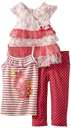 Nannette Little Girls' 3 Piece Printed Ruffle Capri Pant Set, Melon Twist, 2T