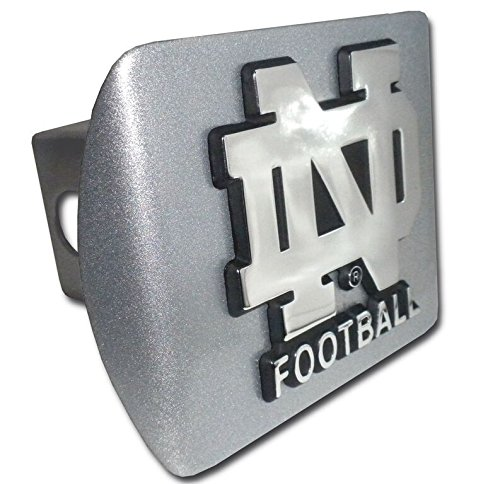 University of Notre Dame  Brushed Chrome Hitch Cover