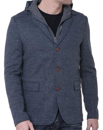BLZ jeans - Veste Homme Boutonnée Capuche Amovible - couleur: Gris - taille: S