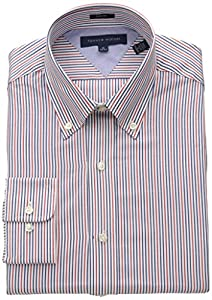 Tommy Hilfiger Men's Slim Fit Red Blue Stripe, Blue/Multi, 15.5 32/33
