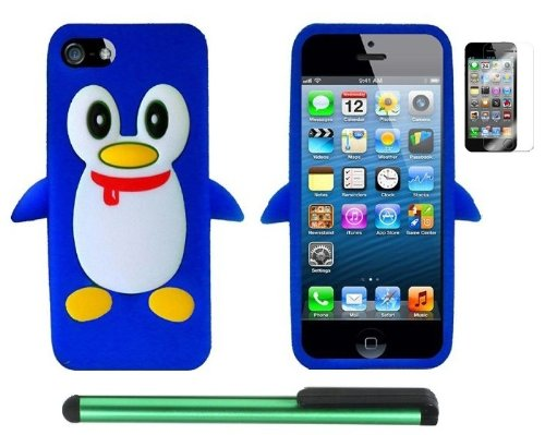 >>  Blue Penguin Move On Future Silicone Skin Premium Design Protector Soft Cover Case Compatible for Apple Iphone 5 (AT&T, VERIZON, SPRINT) + Screen Protector Film + Combination 1 of New Metal Stylus Touch Screen Pen (4