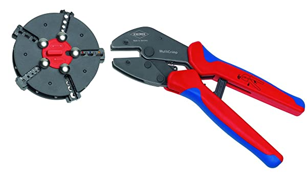 Knipex Tools 97 33 02 MultiCrimp Pliers and Quick Changer Magazine with 5-Interchangeable Crimping Dies