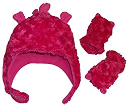 N\'Ice Caps Girls Soft Velboa Hat and Mitten Set with Ears (6-18 Months, Fuchsia - Infant)