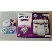 Philips AVENT Elephants Bundle (Blue/Green): Natural Bottles, 9 Oz, 3 Pack + Pacifiers, 2 Count