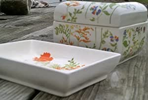 "Elizabeth Arden Porcelain Trinket Box and Mini Jewelry Tray ""Field Flowers"" Vintage"
