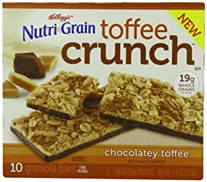 Kellogg's Nutri-Grain Bar, Toffee Crunch, 5 - 1.48 oz Pouches, Net Wt. 7.4 Ounce