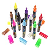 U.S. Bilby Liquid Chalk Markers 10 Pack Neon Bright Colored Erasable Reversible Ink Pens 5 Extra Tips Best for Bistro Menu Boards Kid's Art Whiteboards Glass Windows Labels