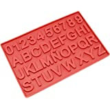 Freshware CB-117RD 37-Cavity Alphabet and Number Shaped Silicone Mold for Birthday Candle, Candy, and More
