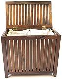 Redmon Genuine Teak Wood Bench Seat Hamper