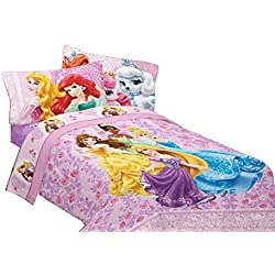 Disney Princesses Palace Pets Fabulous Friends 72 by 86-Inch Reversible Microfiber Comforter, Twin/Full