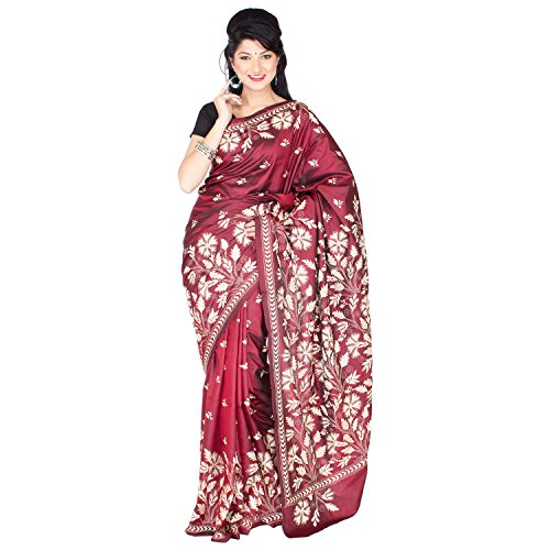 Boutique Rupkatha Bengali Kantha Stitch on Maroon colour pure Bangalore Silk Saree